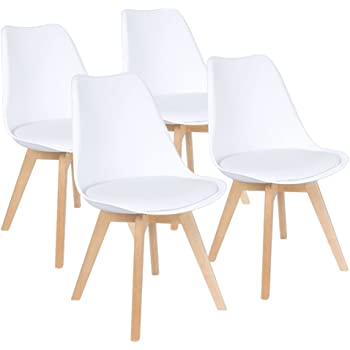 Furmax Mid Century Modern DSW Dining Chair Upholstered Side Chair with Beech Wood Legs and Soft Padded Shell Tulip Chair for Dining Room Living Room Bedroom Kitchen Set of 4 (White)