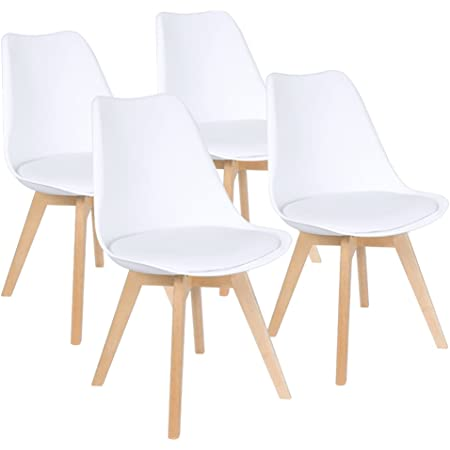 Amazon Com Furmax Mid Century Modern Dsw Dining Chair Upholstered Side Chair With Beech Wood Legs And Soft Padded Shell Tulip Chair For Dining Room Living Room Bedroom Kitchen Set Of 4