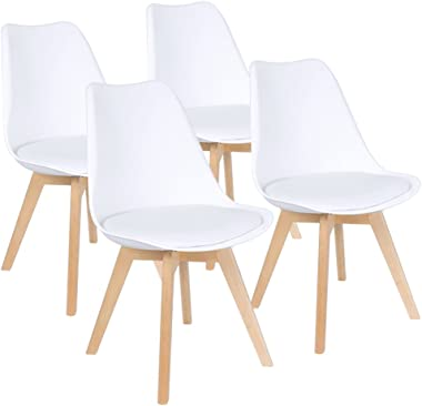 Furmax Mid Century Modern DSW Dining Chair Upholstered Side Chair with Beech Wood Legs and Soft Padded Shell Tulip Chair for