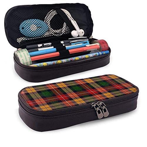 XCNGG Kosmetiktasche mit Federmäppchen Red and Black Plaid PU Leather Pencil Case School Office Use Zipper Stationery Organizer