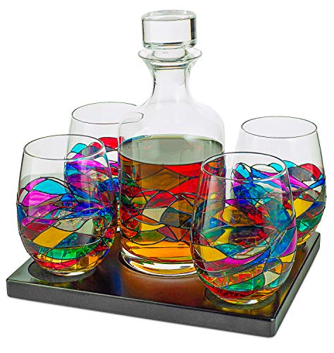Artisanal Hand Painted Whiskey & Wine Decanter Set, Renaissance Romantic Stain-glassed Windows Glasses By The Wine Savant - Set of 4 glasses & Decanter - Gift Idea for Her, Him, Birthday, Housewarming