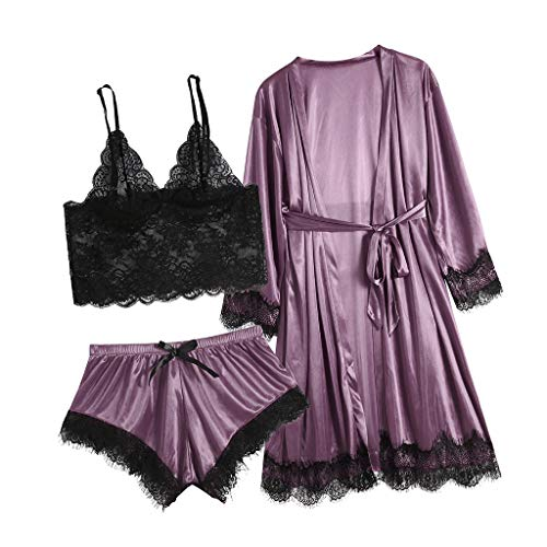 New 3pc Women's Exotic Chemises Negligees, Camisole Shorts Set Sexy Cami Tops + Lace Bra + Satin Sho...