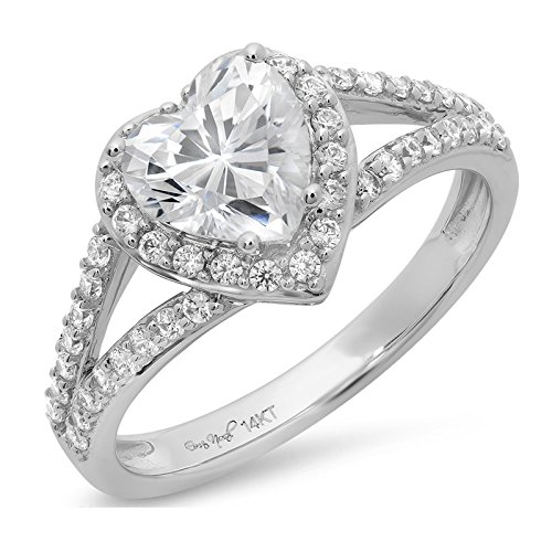Clara Pucci 1.65 CT Heart Cut CZ Pave Solitaire Bridal Engagement Wedding Band Ring 14k White Gold, Size 7.5