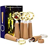 DealKits (6 Pack) Wine Bottle Cork Lights, 1 AAA Battery Operated LED Outdoor Indoor String Lights Warm White Fairy Lights for Bedroom, DIY, Party, Decoration, Christmas, Halloween, Wedding, 2.5ft