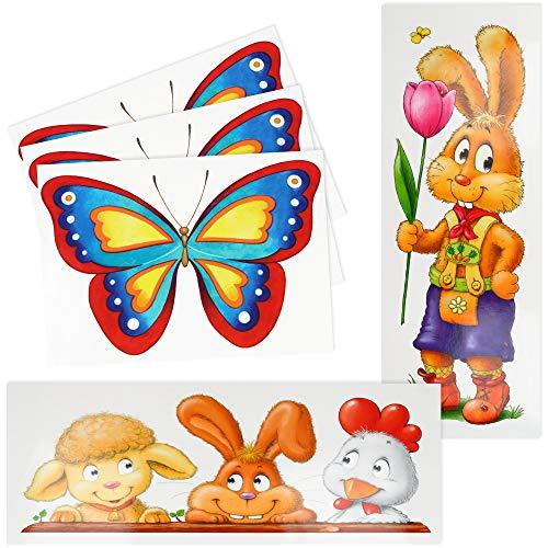 com-four® 5-teiliges Set XL Fensterbilder mit Frühlings Motiven - Statisch haftende Fenster-Deko für Ostern - Selbstklebende Osterdeko in 2 Größen (05-teilig - Set 5)