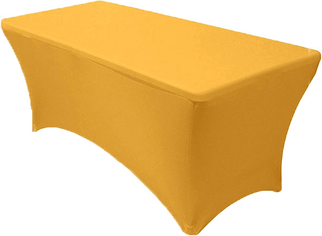 Your Chair Covers Stretch Spandex 8 Ft Rectangular Table Cover Gold 96 Length X 30 Width X 30 Height Fitted Tablecloth For Standard Banquet And Folding Tables