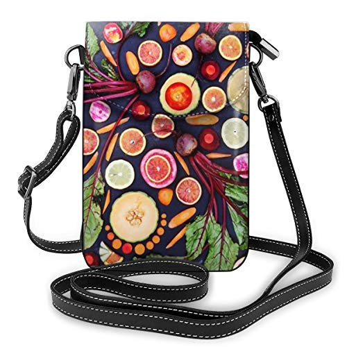 XCNGG bolso del teléfono Womens Small Crossbody Cellphone Purse Wallet with Adjustable Shoulder Strap Roomy Various Vegetables Shoulder Bags