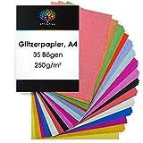 OfficeTree Cartulina con Purpurina A4 Colorido - Cartulina Purpurina 15 Colores - 35 Hojas 250g/m² - Papel de Cartulina Brillante para hacer manualidades y crear diseños únicos