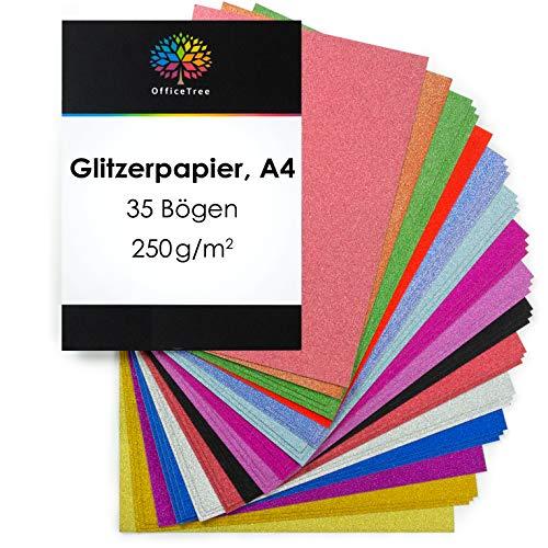 OfficeTree Glitzerpapier zum Basteln - Glitzer Papier A4 bunt 15 Farben - 35 Blatt 250g/m² - Glitterkarton zum Basteln und Gestalten