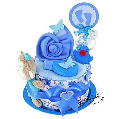 MomsStory - mini Windeltorte Junge | Baby-Geschenk zur Geburt Taufe Babyshower | 1 Stöckig (Blau) mit Baby-Spielzeug Lätzchen & mehr