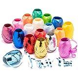 com-four® 18x Ringelband in bunten Farben - 20 m je Rolle - hochwertiges Set Geschenkbänder zum Basteln und Verpacken -
