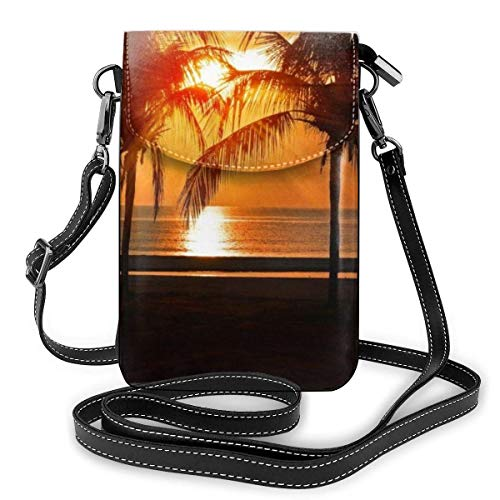 AOOEDM Small Cell Phone Purse Stylish Tropical Sunset Coconut Palm Tree Cell Phone Purse Wallet Big Pocket Small Crossbody Bags Adjustable Shoulder Strap Cellphone Pouch with Card Slots
