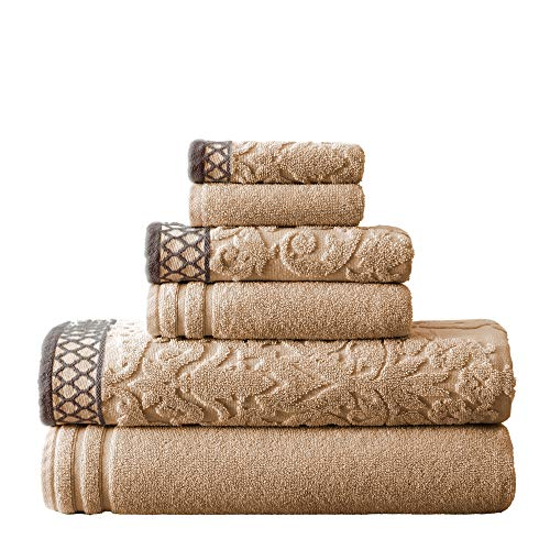 Amrapur Overseas 6-Piece Damask Jacquard/Solid Ultra Soft 550GSM 100% Combed Cotton Towel Set with Embellished Dark Borders, Taupe (Package May Vary)