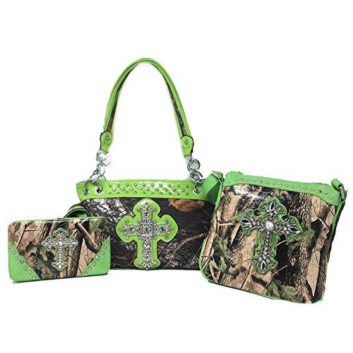 Premium Rhinestone Camouflage Cross Leather Women's Handbag Purse Messenger Bag Wallet 3 Piece Set Collection Multi-Color (Green)