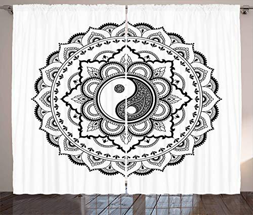 ABAKUHAUS En Blanco y Negro Cortinas, Mandala Flores, Sala de Estar Dormitorio Cortinas Ventana Set de Dos Paños, 280 x 245 cm, En Blanco y Negro