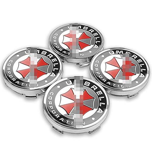 4pcs 56 / 60mm Cajas de ruedas de automóvil Caps de centro de la rueda de la corporación Emblema Emblema calcomanía compatible con BMW Audi Kia Ford Toyota Suzuki Lada ( Color : Umbrella hub cap )