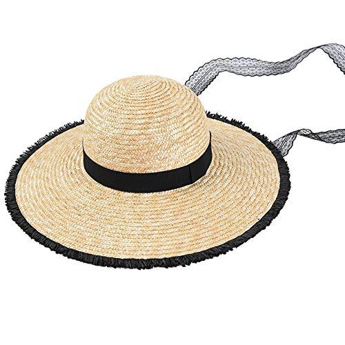 Gldgle Frauen Natürliche Weizen Strohhüte Schwarze Raue Kanten Schnüren Sonnenhüte Breite Krempe Spitze Band Strandhüte Weibliche Sommermütze, Damen Sonnenhüte