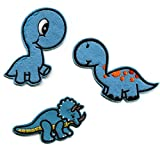 Parches Termoadhesivos Dinosaurios Azules Ropa Infantiles, 3 Parches Dinosaurios Bebé Bordados Decorativos Animales Dibujos Animados Apliques para Coser Planchar Pantalones Niños Aplicaciones Jeans