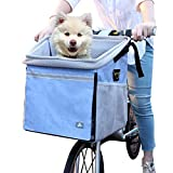 RAYMACE Dog Bike Basket Bag with Reflective Stripe Pet Bicycle Booster Carrier