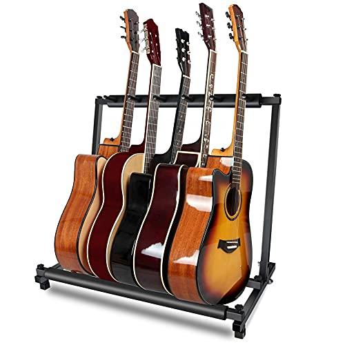 ギタースタンド (5本収納) ベース ギター スタンド ベーススタンド ギターすたんど 安定耐久(アコギ/ウクレレ/クラシック/エレキ/ベース/管楽器 対応スタンド)