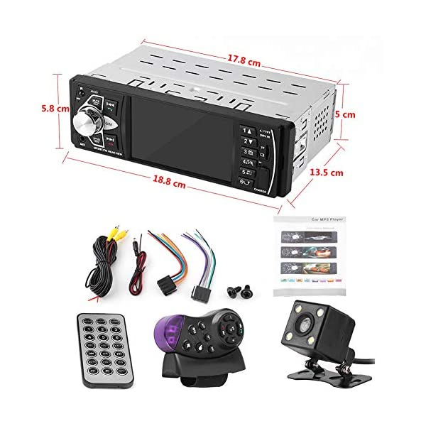 """Bluetooth Car Stereo Radio with 4.1"""" Touchscreen & Rear View Camera, Car MP5 Player Radio Universal HD Touch Screen Universal Multimedia Player, Steering Wheel Control, Rear View Camera 6"""