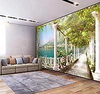 カスタム写真壁紙3D立体空間バルコニー湖の風景壁画リビングルーム寝室壁画壁紙家の装飾280x200cm