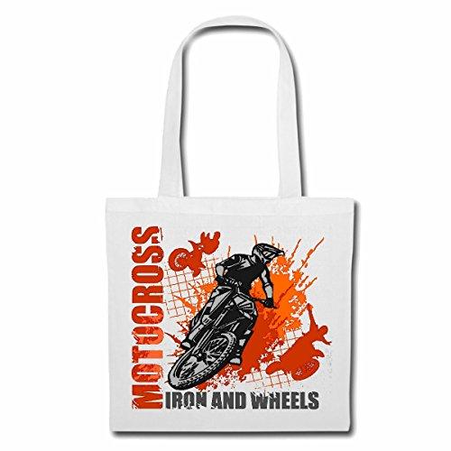 sac à bandoulière MOTOCROSS IRON ROUES & EXTREME SPORTS MOTOCROSS MOTOCROSS BIKE OUTDOOR Crossbike FREESTYLE Sac Turnbeutel scolaire en blanc