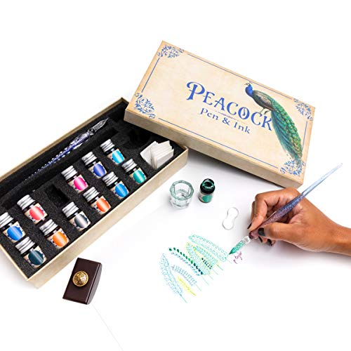 Peacock Pen & Ink Set Glass Dip Pen Set with Ink. Crystal Glass Pen. Fun for Calligraphy, journaling, Writing, and Drawing. Treat Yourself or Gift Others!