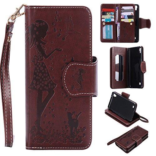 Lomogo Carcasa LG X Power [9TITOLARI DI Papel], Funda Cartera de Piel Porta Papel de crédito con Cierre magnético para LG X Power (K220) - marrón