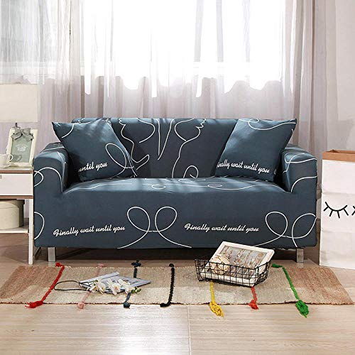 Funda de sofá de 1 Plazas Funda Elástica para Sofá Poliéster Suave Sofá Funda sofá Antideslizante Protector Cubierta de Muebles Elástica Patrón de línea Gris Funda de sofá