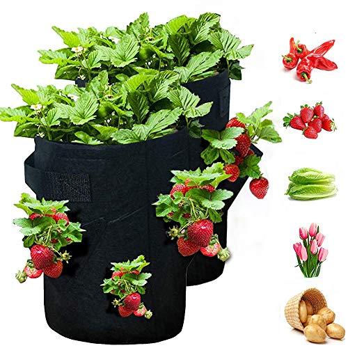 MMTX Bolsas para Plantar Fresas,2 Piezas Bolsa para Plantas con Asas y 8 Bolsillos Laterales,10 Galones Tela no Tejida Bolsa para Plantar para Fresa,Papa, Flores y Verduras(Negro)