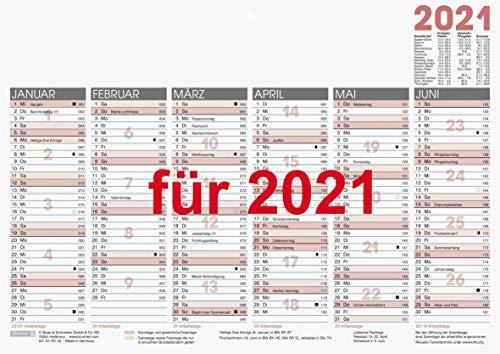Brunnen 1070140001 Tischkalender/Tafelkalender A 4 Modell 701 40, 1 Seite = 6 Monate, kräftiger Karton, Kalendarium 2021