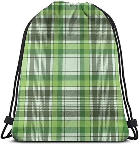 KINGAM Mochila con cordón verde cheque a cuadros con cordón mochila bolsa de cuerda para deportes atléticos gimnasio saco hombres mujeres niños