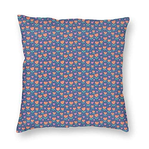 Throw Pillow Cushion Cover,Symbols Of Love And Valentines Day Flowers Cartoon Hearts Romantic Illustration 12'x12', Decorative Square Accent Pillow Case