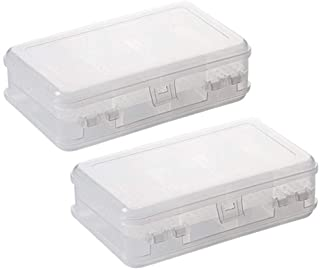 2Pcs Clear Double Layer Plastic Jewelry Box Organizer Storage Container for Earrings, Necklaces, Rings, Bead, Fishing Tack...