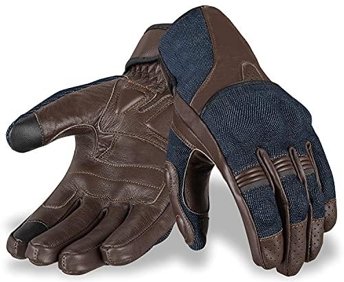 Hand Fellow Denim & Pelle, guanti da moto touchscreen, guanti da moto, guanti da moto per attività all'aperto, colore marrone, taglia L