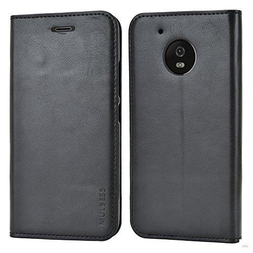 Mulbess Funda Motorola Moto G5 [Libro Caso Cubierta] Slim de Billetera Cuero de la PU Carcasa para Motorola Moto G5 Case, Negro