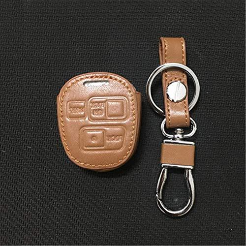 Funda de piel para llave de coche para Toyota Tarago RAV4 Corolla Camry, 3 botones de cuero para llave de coche (marrón)