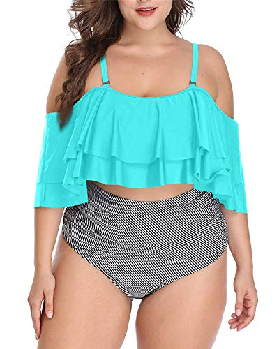 Daci Women Green Plus Size Bikini High Waisted Bathing Suits Off Shoulder Flounce Ruffle Swimsuits XXL