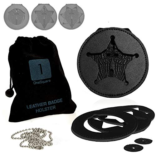 Badge Shield Holder | Interchangeable faceplates for Five, Six, Seven Point Star Badges, and Circle Shields | Leather Wrapped Steel Belt Clip, Stainless Steel Necklace with Archangel Michael Wings