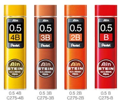 Pentel Ain Stein Mechanical Pencil Lead, 0.5mm B,2B,3B,4B (40 Leads) 1 Each + Original 5 Colors Sticky Notes