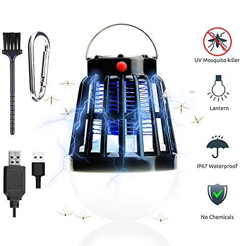 TBoonor UV Insektenvernichter 2 in 1 Mückenlampe & Campinglampe Solar/USB Wiederaufladbar Tragbare Mückenkiller Campinglampe für Innen und Außen