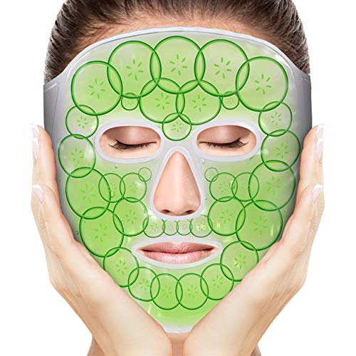 Gel Ice Cold Face Mask, Cooling Eye/Facial Mask for Men/Women, Reusable Hot Cold Therapy Ice Mask for Puffiness, Dark Circles, Migraines, Pain Relief, Jaw Pain, Stress Relief, Toothache (Green)