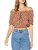 PIECES Pcmaggie SS Cropped Top Blusas, Marrón Cobrizo, L para Mujer