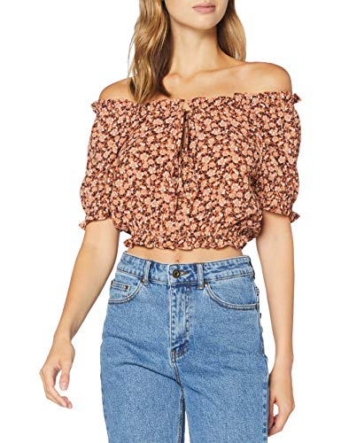 PIECES Damen PCMAGGIE SS Cropped TOP Bluse, Copper Brown, S