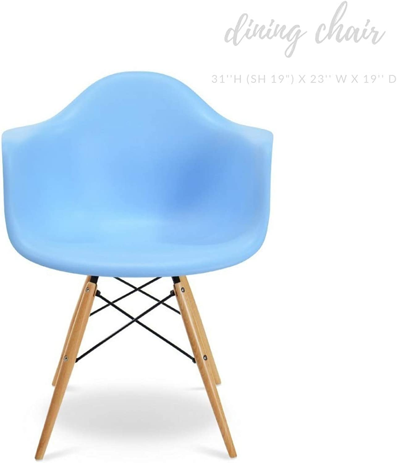 Take Me Home Furniture Eiffel Style Bucket Chair with Wood Legs, Light bluee, Dining Chair