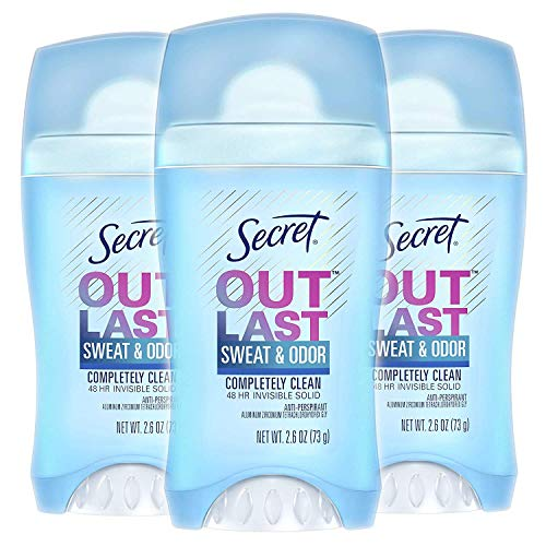 Secret Antiperspirant and Deodorant for Women, Completely Clean, Invisible Solid, Outlast Xtend, 2.6 Oz (Pack of 3) (Packaging May Vary)117.9 grams