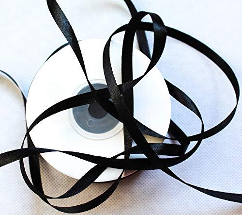 CaPiSo® - Cinta de raso de 50 m, 6 mm, cinta decorativa para Navidad, cinta de regalo, Negro , 50 m