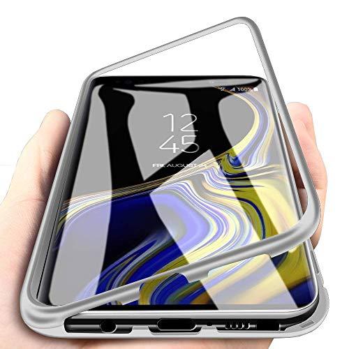 WindCase Galaxy Note 9 Funda, Anti-rasguño Metal Aluminio Bumper con Magnética + Transparente Vidrio Templado Rígida Cubierta Protectora Carcasa para Samsung Galaxy Note 9 Plata