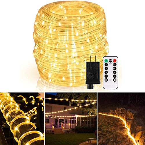 GreenClick LED Rope Lights Outdoor, Connectable 72ft 200 LED String Lights Plug in with Remote, Waterproof Dimmable 8 Modes Fairy String Lights with Timer for Christmas Deck Patio Pool Wedding Party